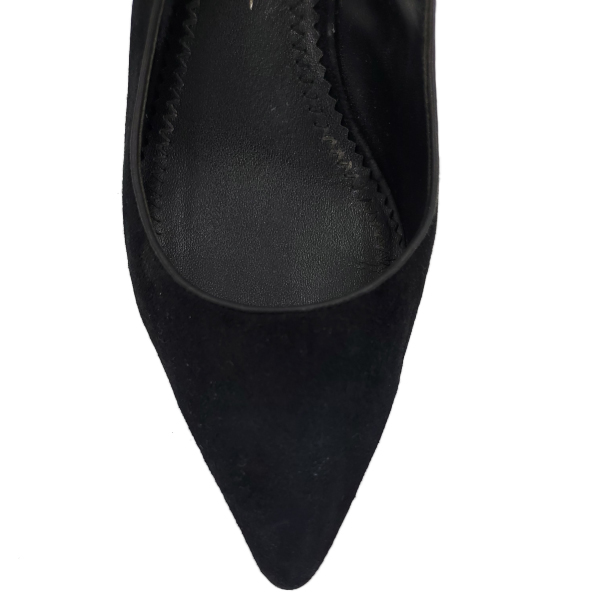 Top view of pre-owned Jean-Michael Cazabet Suede Slingback Sandals in black, with pointed toe.
