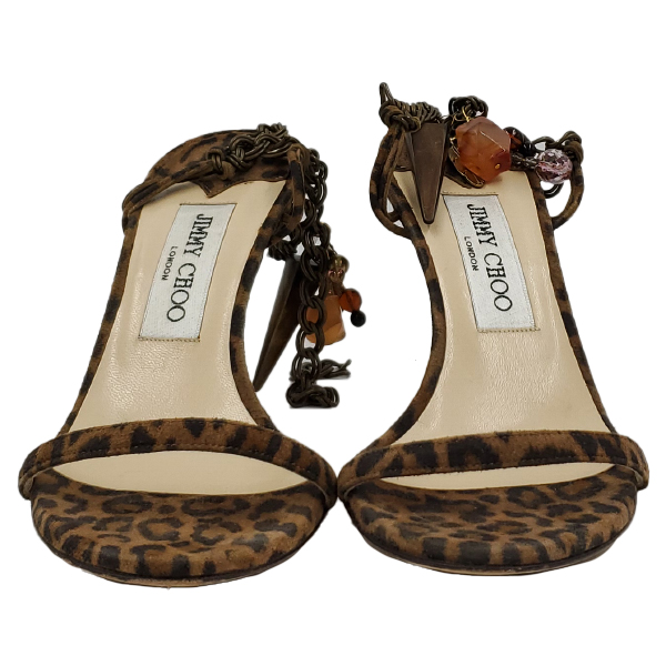 Front view of pre-owned Jimmy Choo Leopard Print Ankle Wrap Sandals with ankle bracelet.