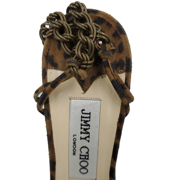 Logo of pre-owned Jimmy Choo Leopard Print Ankle Wrap Sandals.