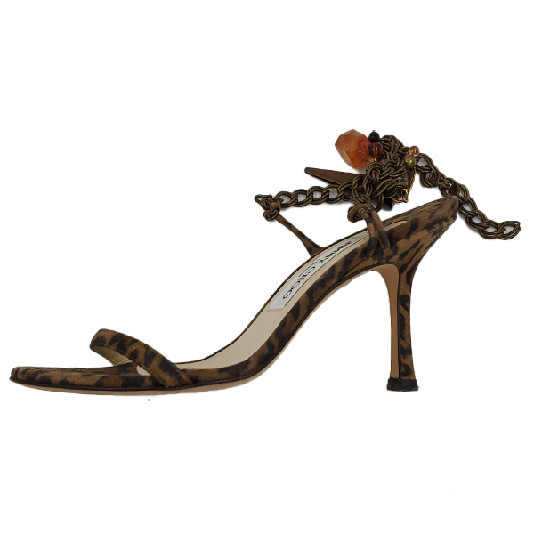 Pre-owned Jimmy Choo Leopard Print Ankle Wrap Sandals with ankle bracelet.