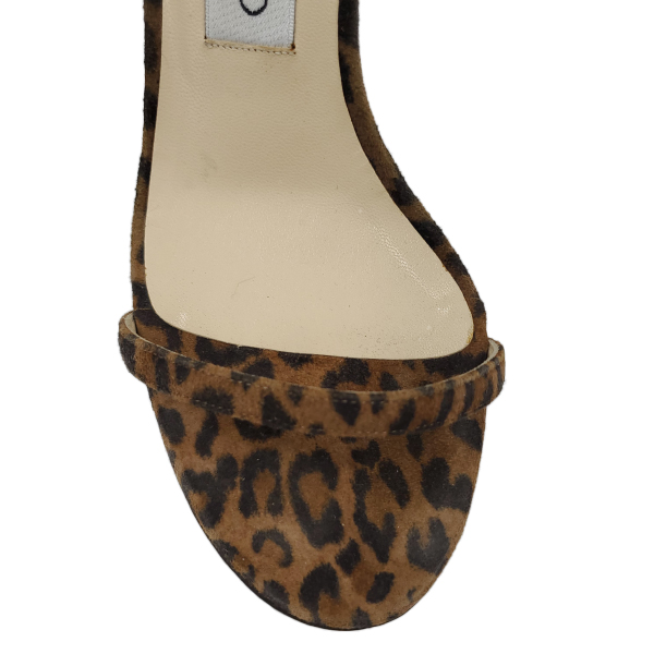 Top view of pre-owned Jimmy Choo Leopard Print Ankle Wrap Sandals.