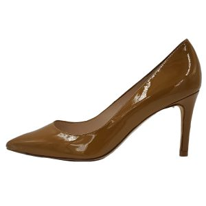 Pre-owned L.K. Bennette Patent Leather Pumps in mustard yellow, with pointed toe.