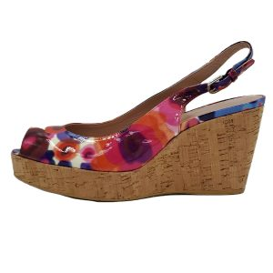 Pre-owned Stuart Weitzman Colourful Peep-toe Patent Leather Cork Wedges.