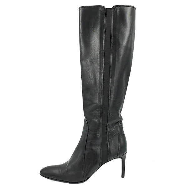 Pre-owned Bruno Firscmo High-knee Boots in black, with side zipper closure.