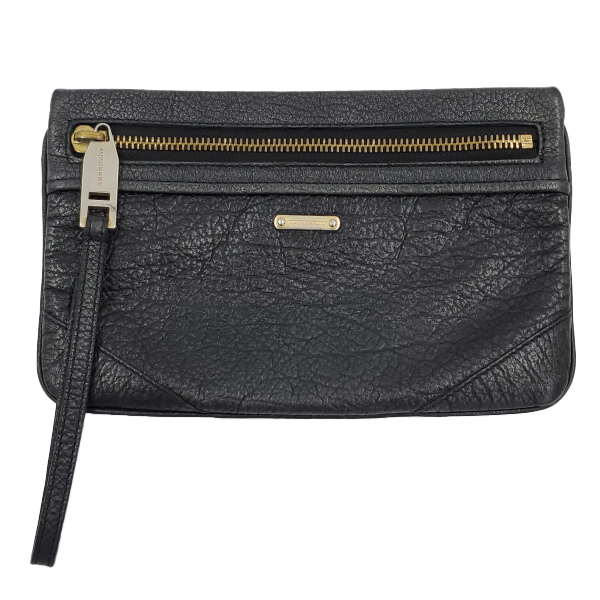 Back view of pre-owned Burberry Vintage Leather Wristlet in black, with gold-tone tarnished hardware.