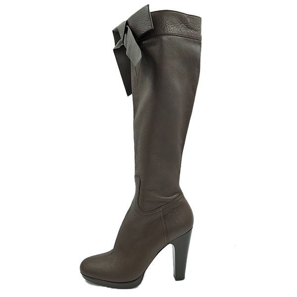 Pre-owned Miu Miu High-knee Boots in brown, with bow tie detail.