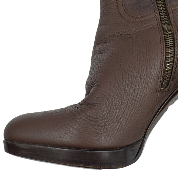 Close up front view of pre-owned Miu Miu High-knee Boots in brown, with side zip closure.