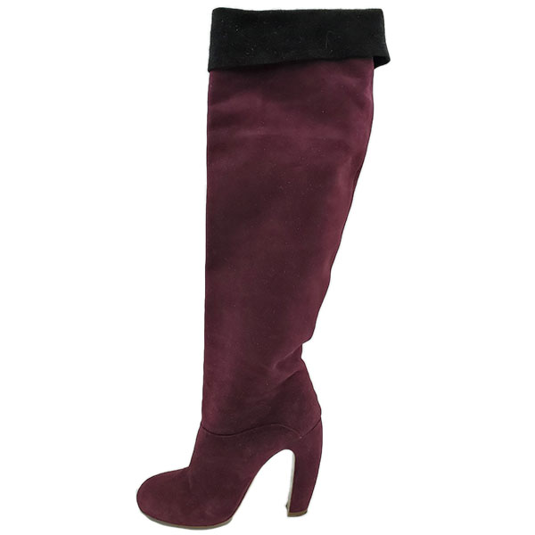Pre-owned Miu Miu Suede Over-the-knee Boots in burgundy, with black flap over.
