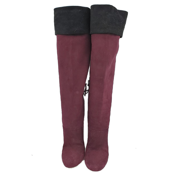 Front view of pre-owned Miu Miu Suede Over-the-knee Boots in burgundy, with black flap over.