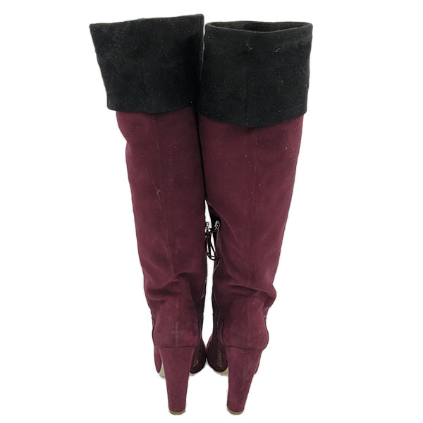 Back view of pre-owned Miu Miu Suede Over-the-knee Boots in burgundy, with black flap over.
