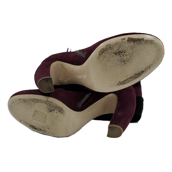 Soles of Miu Miu Suede Over-the-knee Boots.