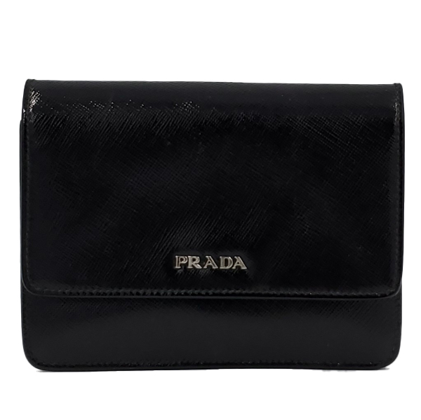 Close up details of pre-owned Prada Vintage Patent Leather Crossbody Bag.