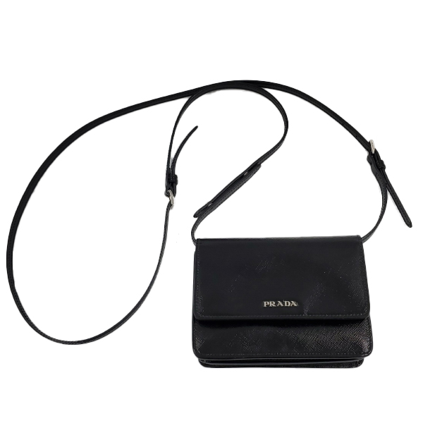 Pre-owned Prada Vintage Patent Leather Crossbody Bag in black, with snap button front closure.