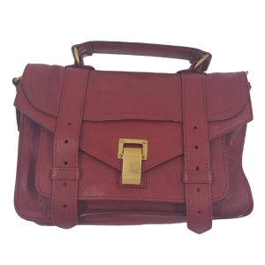 Pre-owned Proenza Schouler Small Leather Crossbody Bag in red, with brass hardware.