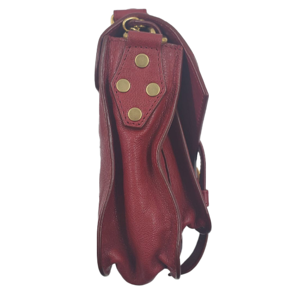 Side view of pre-owned Proenza Schouler Small Leather Crossbody Bag in red, with brass hardware.