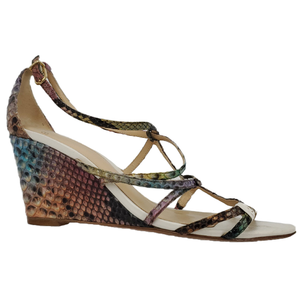 Pre-owned multi-coloured Alexandre Birman Snakeskin Strappy Sandals, with wedge style.