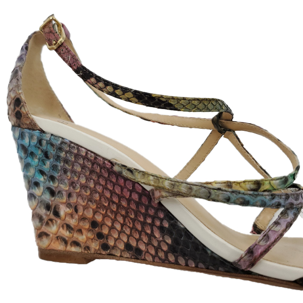 Close up back view of pre-owned multi-coloured Alexandre Birman Snakeskin Strappy Sandals, with wedge heels.