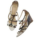 Top view of pre-owned multi-coloured Alexandre Birman Snakeskin Strappy Sandals.