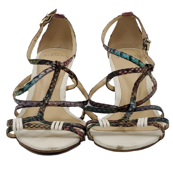 Front view of pre-owned multi-coloured Alexandre Birman Snakeskin Strappy Sandals.