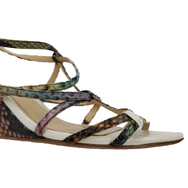Close up front view of pre-owned multi-coloured Alexandre Birman Snakeskin Strappy Sandals.