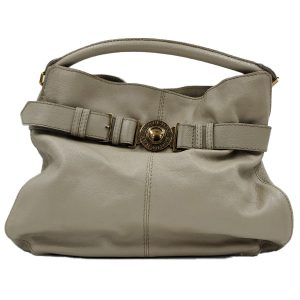 Pre-owned Burberry Leather Hobo Bag in taupe, with single rolled handle and gold-tone hardware.