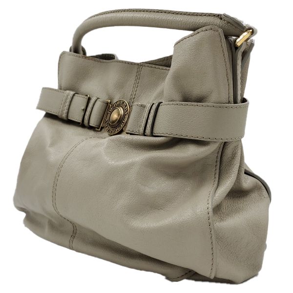 Side view of pre-owned Burberry Leather Hobo Bag in taupe, with single rolled handle and gold-tone hardware.