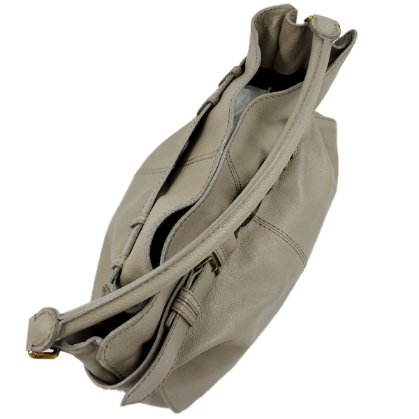 Top view of pre-owned Burberry Leather Hobo Bag in taupe, with single rolled handle and gold-tone hardware.