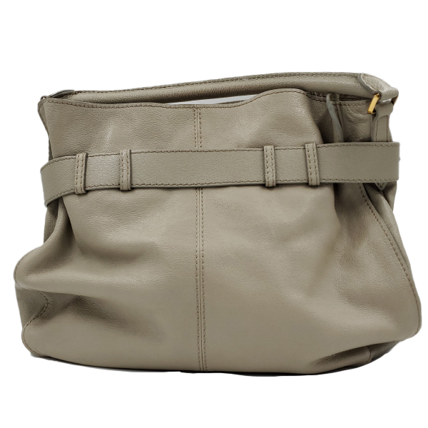 Back view of pre-owned Burberry Leather Hobo Bag in taupe, with single rolled handle and gold-tone hardware.