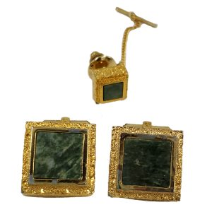 Pre-owned Christian Dior Vintage Men's Tie Clip in gold, with square emerald stone.
