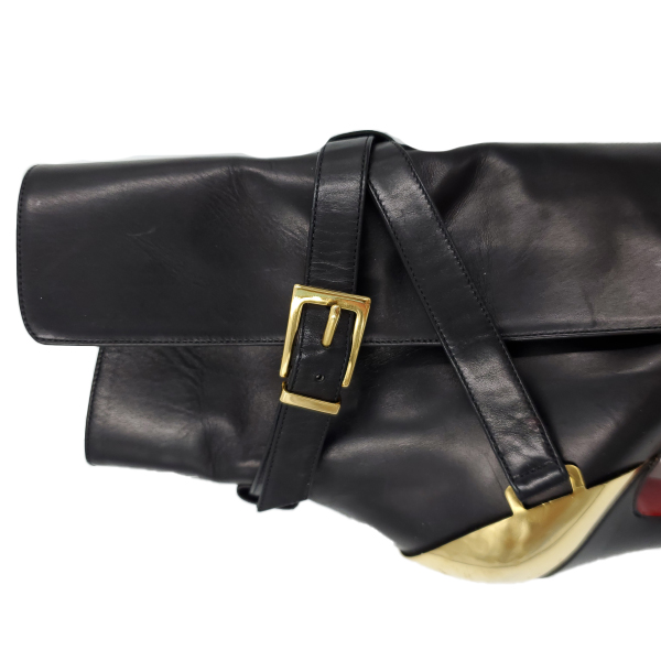 Close up front view of pre-owned Christian Louboutin Calfskin Equestria 160 Boots in black.
