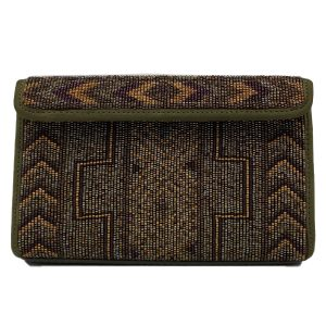 Pre-owned Donald J Pliner Bejeweled Evening Clutch in olive green, with studded design.