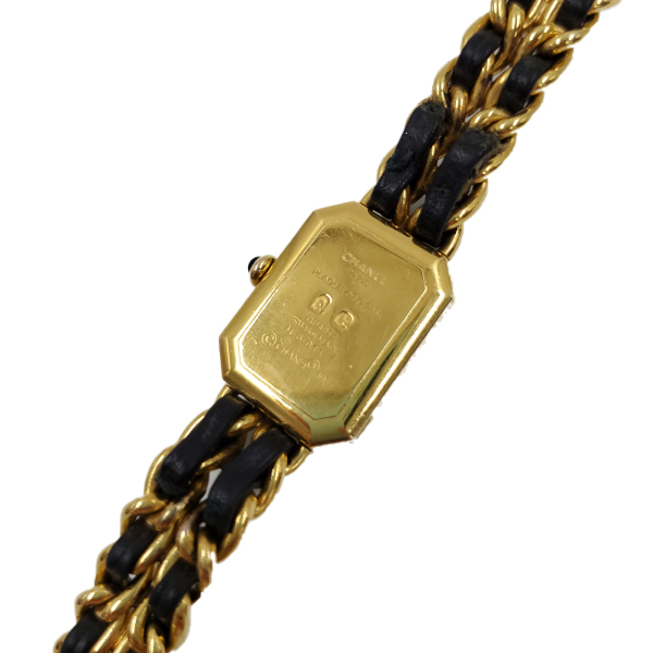 Close up back view of pre-owned Chanel Première Gold Plated Women's Wristwatch.