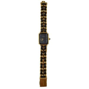 Pre-owned Chanel Première Gold Plated Women's Wristwatch in black and gold.