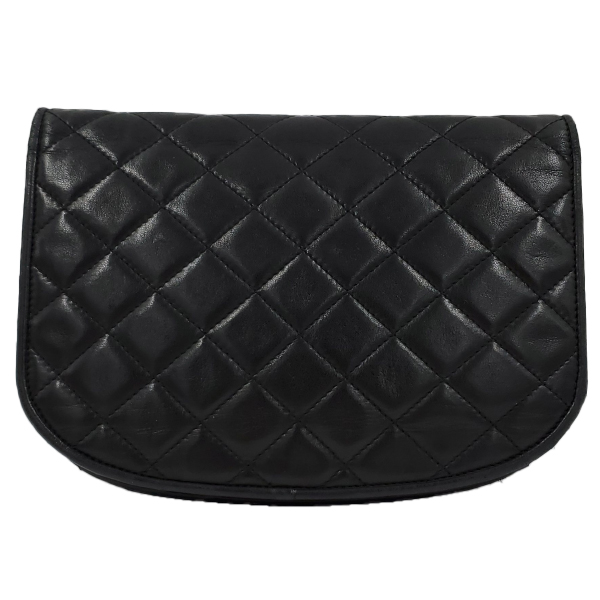 Back view of pre-owned Chanel Semi-circle Black Quilted Lambskin Leather Paris Limited Edition Shoulder Bag.