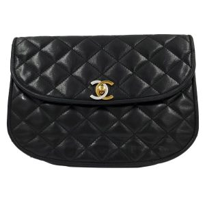 Pre-owned Chanel Semi-circle Black Quilted Lambskin Leather Paris Limited Edition Shoulder Bag, with woven shoulder strap.