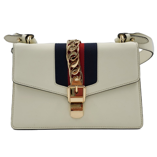 Pre-owned Gucci Sylvie Small Shoulder Bag in white, with metal chain and button closure.