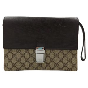Pre-owned Gucci Vintage GG Monogram Clutch, in iconic GG Supreme Print with brown leather.