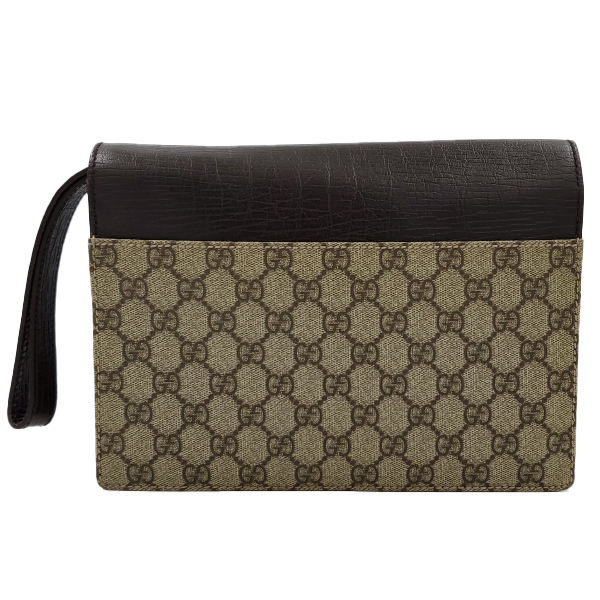Back view of pre-owned Gucci Vintage GG Monogram Clutch, in iconic GG Supreme Print with brown leather.