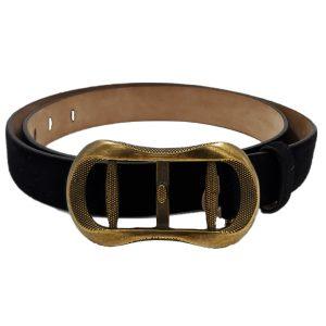Close up of details of pre-owned Roberto Cavalli Vintage Men's Suede Belt in black, with gold vintage buckle.