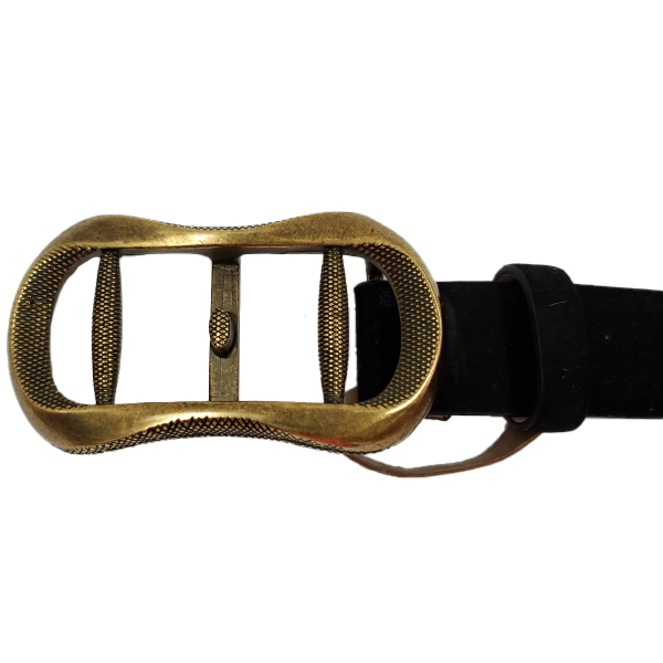 Close up of details of pre-owned Roberto Cavalli Vintage Men's Suede Belt in black, with gold vintage buckle.