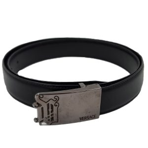 Pre-owned Versace Vintage Men's Leather Belt in black.