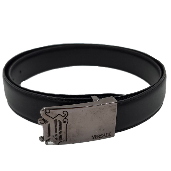 Pre-owned Versace Vintage Men's Leather Belt in black.