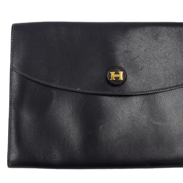 Hermes Vintage Envelope Clutch Flap Bag - up close left