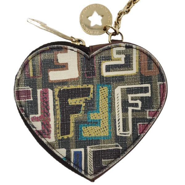 Fendi Coin Case Key Ring Charm Heart Holder - fendi zip