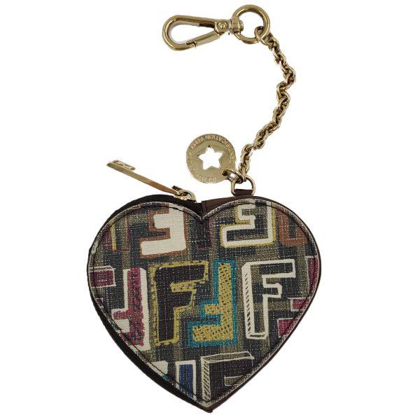 Fendi Coin Case Key Ring Charm Heart Holder - main
