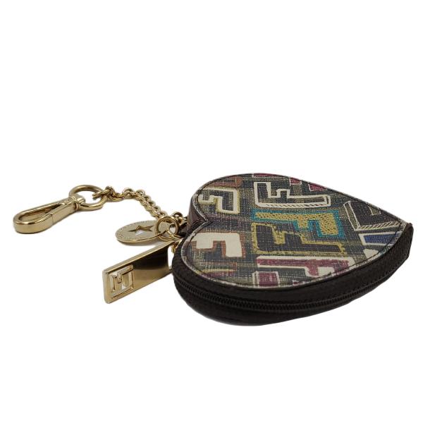 Fendi Coin Case Key Ring Charm Heart Holder - side