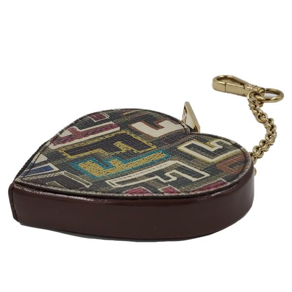 Fendi Coin Case Key Ring Charm Heart Holder - zip view