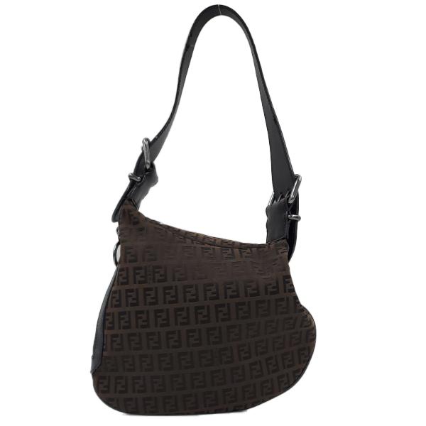 Fendi Vintage Leather Zucca Canvas Saddle Bag - back side