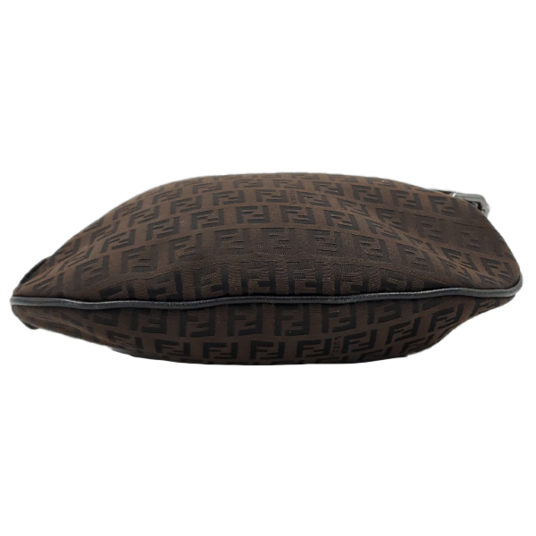 Fendi Vintage Leather Zucca Canvas Saddle Bag - bottom