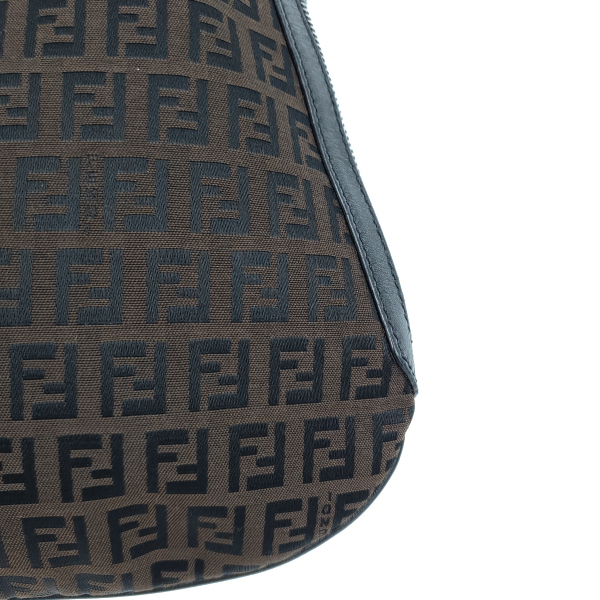 Fendi Vintage Leather Zucca Canvas Saddle Bag - close up corner